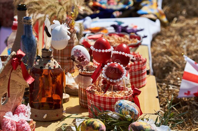Orthodox Easter Decorations. Georgian Orthodox Easter stock images