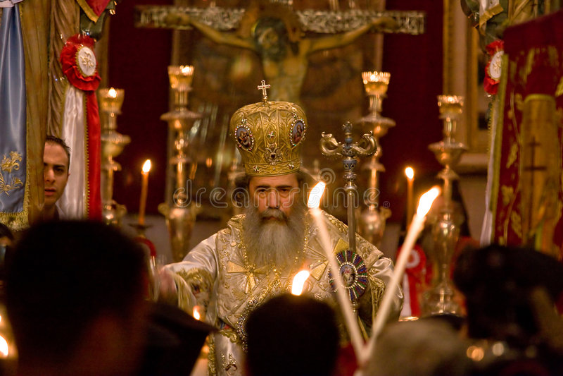 Orthodox easter mass in Jerusalem. stock image
