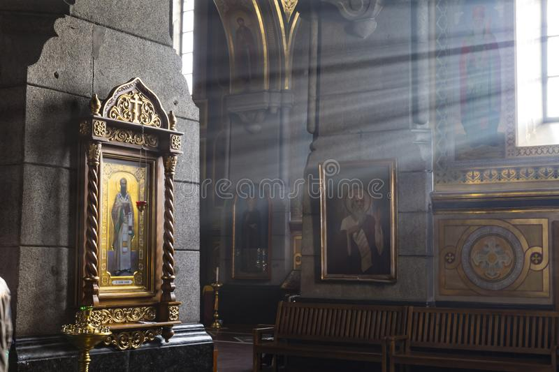 Orthodox Holy Transfiguration Cathedral inside. Zhytomyr Zhito. Ancient historical Orthodox Holy Transfiguration Cathedral inside. Icons on the walls in the royalty free stock photography