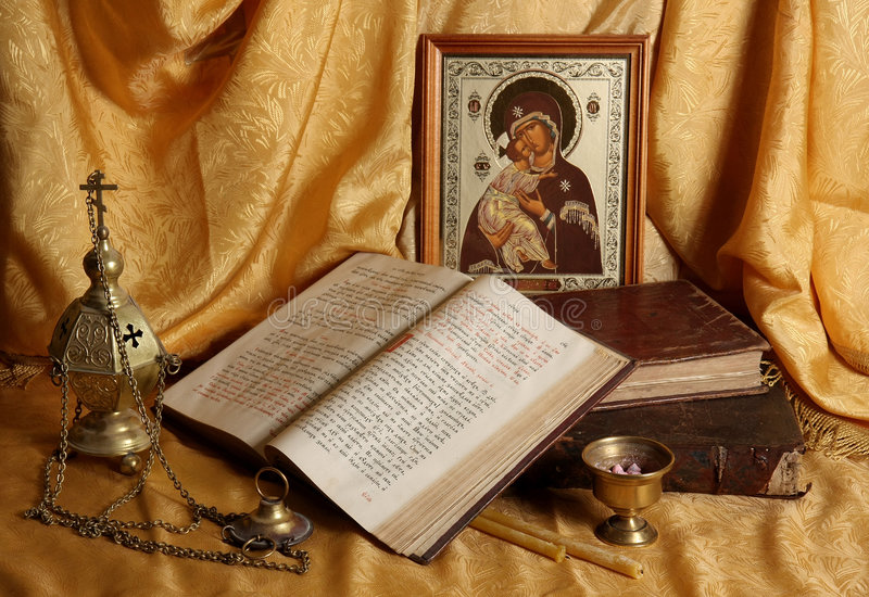 Download Orthodox Icon, Books And Censer Stock Image - Image of greek, language: 6008645