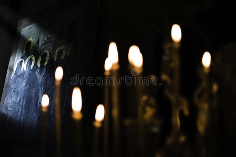 Orthodox icon and candles faith worship, religion concept stock image