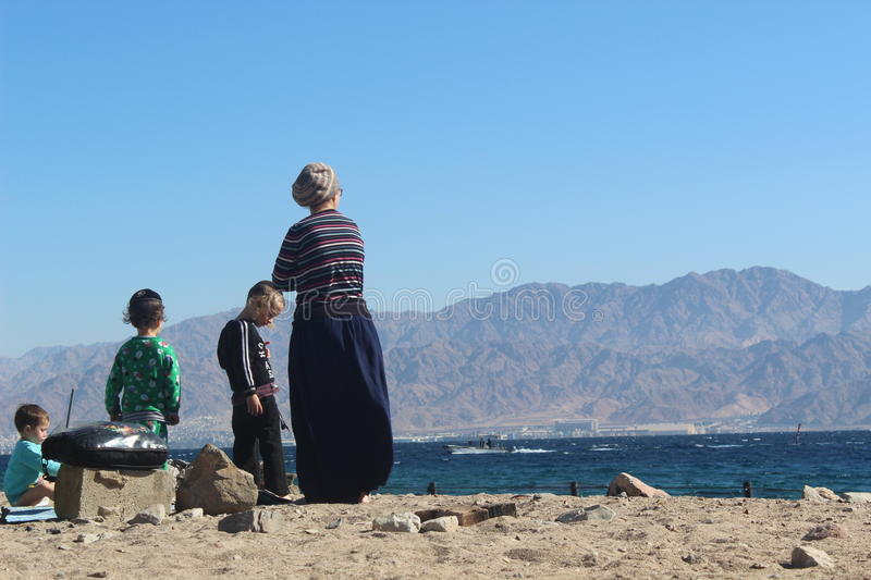 Orthodox Jewish Family On The Beach In Eilat Israel Editorial Stock