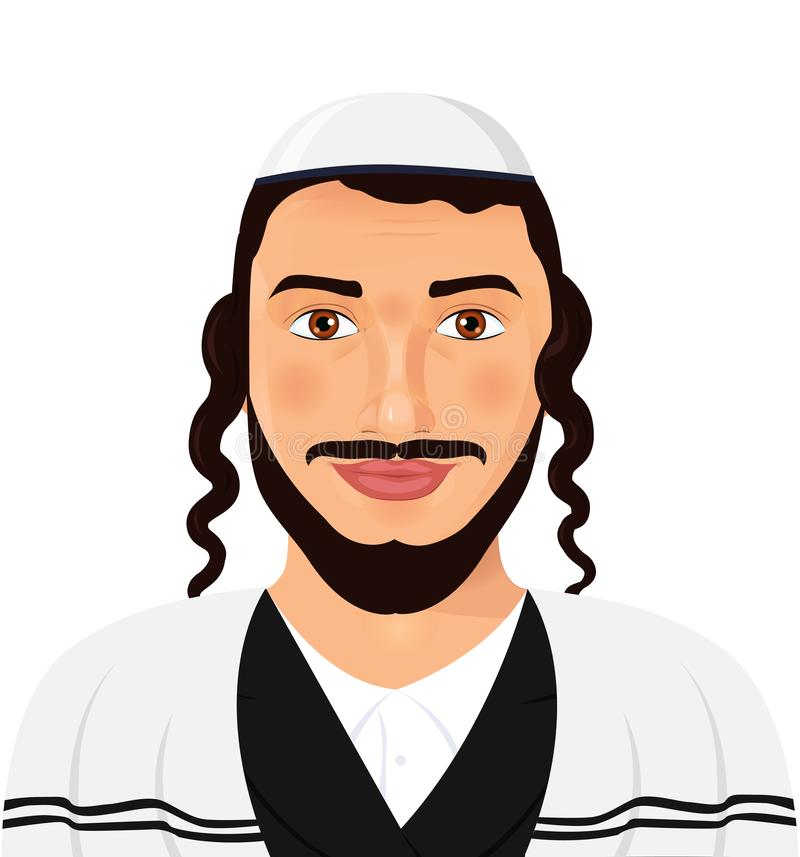 Orthodox jewish man with hat in traditional suit. Jerusalem. Israel. Avatar style vector Illustration isolated on white. Background. eps 10 vector illustration