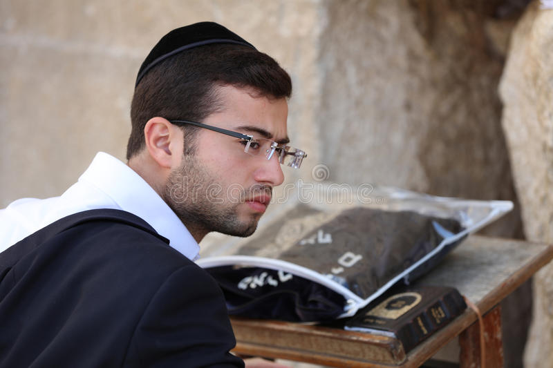 Orthodox Jewish Man at the Western Wall in Jerusalem royalty free stock image