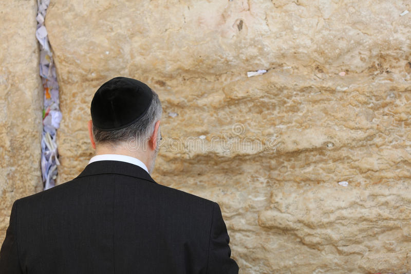 Orthodox Jewish Man at the Western Wall in Jerusalem royalty free stock images