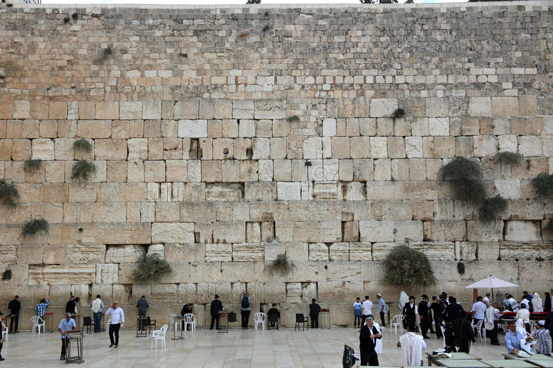 Orthodox Jewish Men at the Western Wall in Jerusalem royalty free stock photo