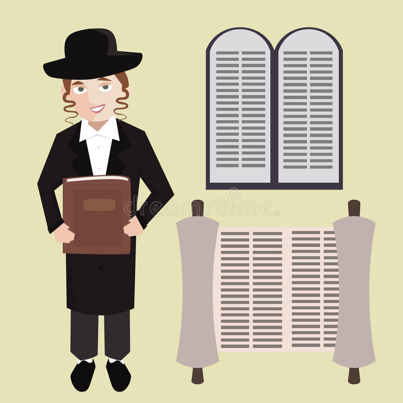 Orthodox jewish young man with hebrew bible, torah scroll, stone stock illustration
