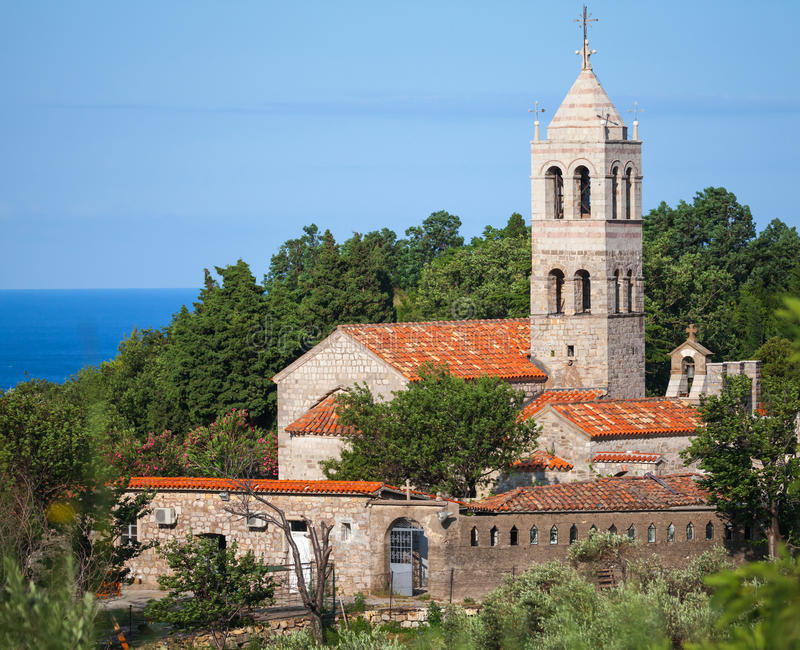 Orthodox Klooster van Rezevici, Montenegro stock foto's