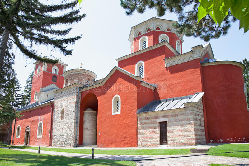 Orthodox Klooster Zica, dichtbij Kraljevo, Servië stock fotografie