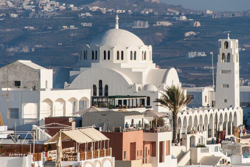 Orthodox Metropolitan Church of Santorini. Orthodox Metropolitan Church, Fira, Santorini Island, Greece stock images