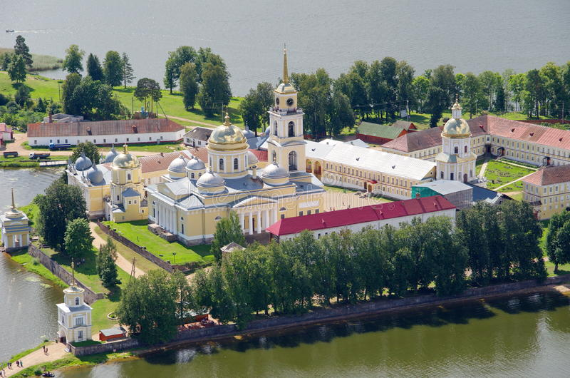 Orthodox monastery and lake Seliger, Tver region, Russia royalty free stock images