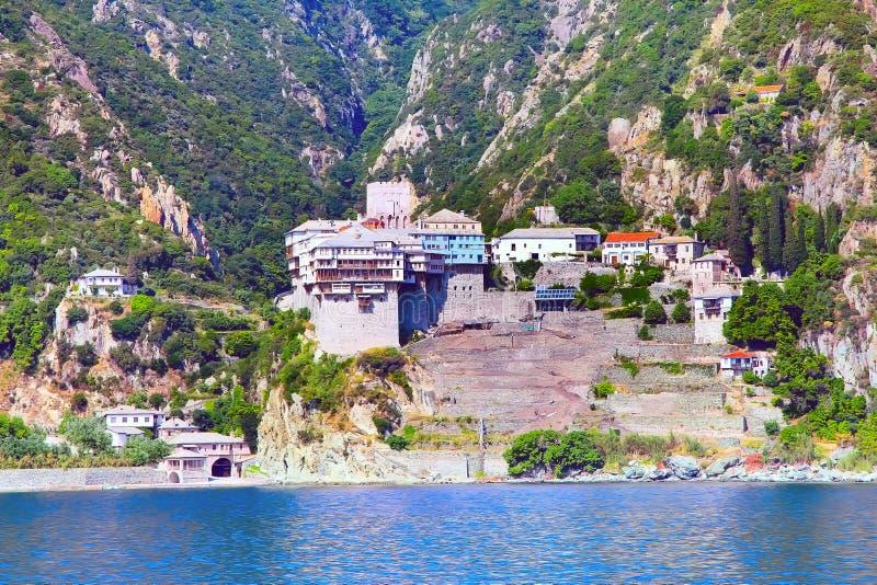 Orthodox monastery at Mount Athos, Greece stock image