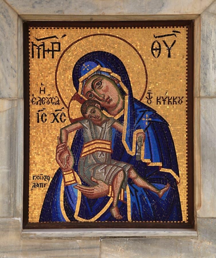 Orthodox mosaic icon of Mother of God, Kykkos Monastery, Cyprus. Orthodox mosaic icon of Mother of God Mary and child Jesus Christ, Panagia of Kykkos, Kykkos royalty free stock photography