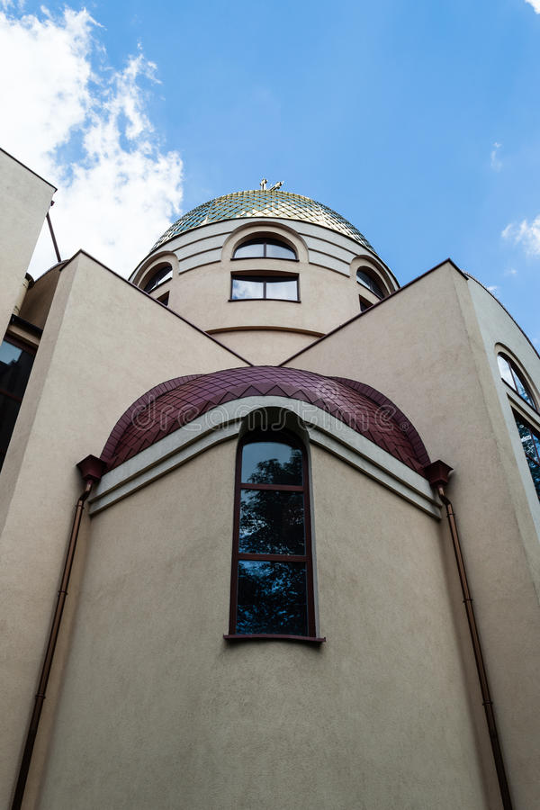 The Orthodox parish of St. Nicholas low angle. POLAND, SZCZECIN - 30 JUNE 2015: The Orthodox parish of St. Nicholas low angle stock photography