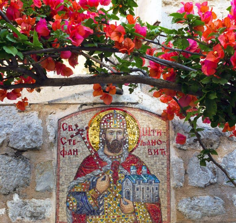 Orthodox pictogram van Heilige Stephen en bougainvillea oude stad van Knop royalty-vrije stock fotografie