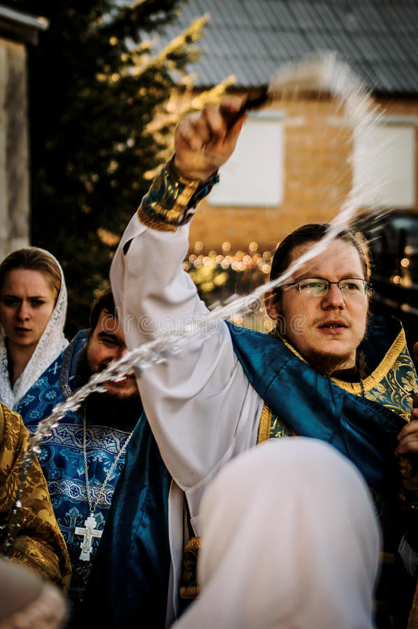 Orthodox priest during the procession in the Kaluga region in Russia. royalty free stock images