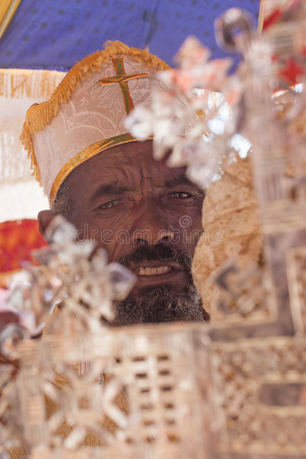 Orthodox priest during Timkat stock image
