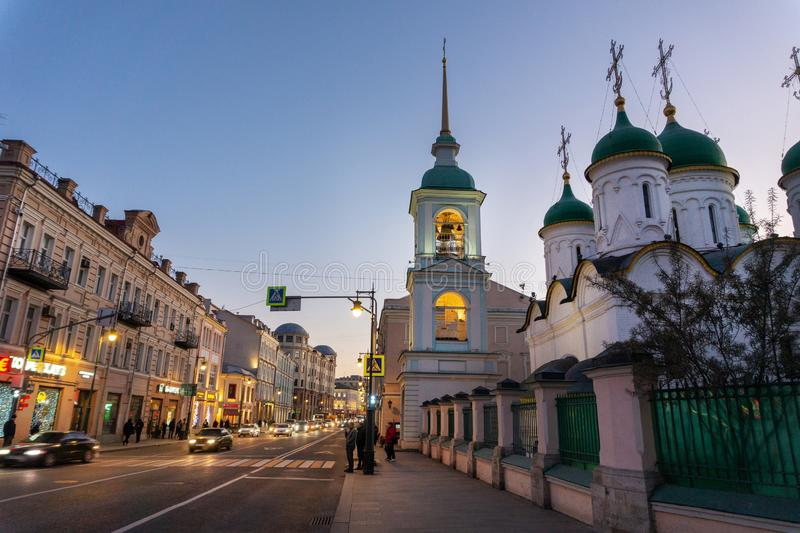Orthodox Russian Church at blue hour. Downtown of Moscow royalty free stock photos