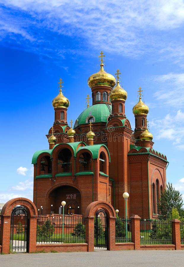 Orthodox temple. Of a city of Pavlodar. Kazakhstan, Asia, religion, belief stock photo