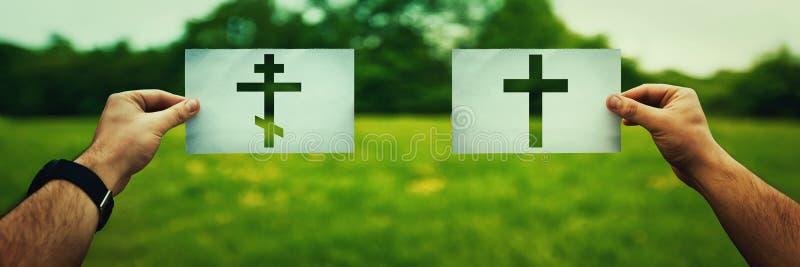 Orthodox versus katholiek royalty-vrije stock afbeelding