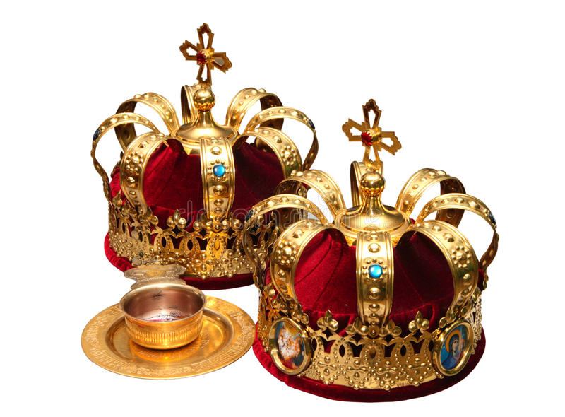 Orthodox Wedding Ceremonial Crowns. Two Orthodox Wedding Ceremonial Crowns Ready for Ceremony stock image