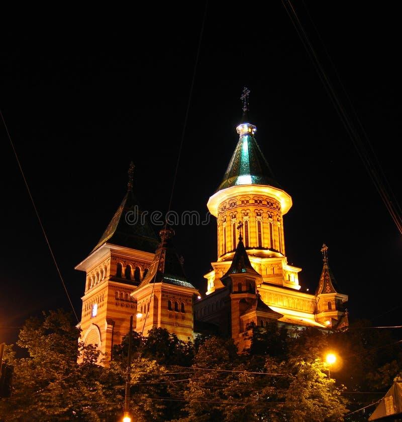 Orthodoxe Kathedraal van Timisoara bij nacht - Roemenië stock foto