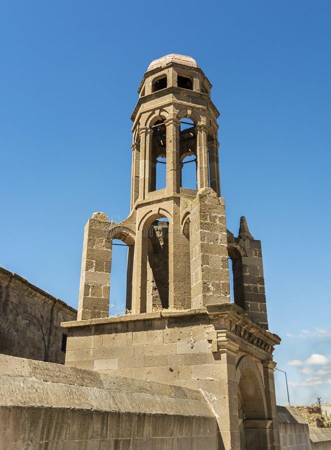 Orthodoxe Kerkklokketoren van derinkuyu van Heilige Theodoros Trion, Turkije royalty-vrije stock fotografie