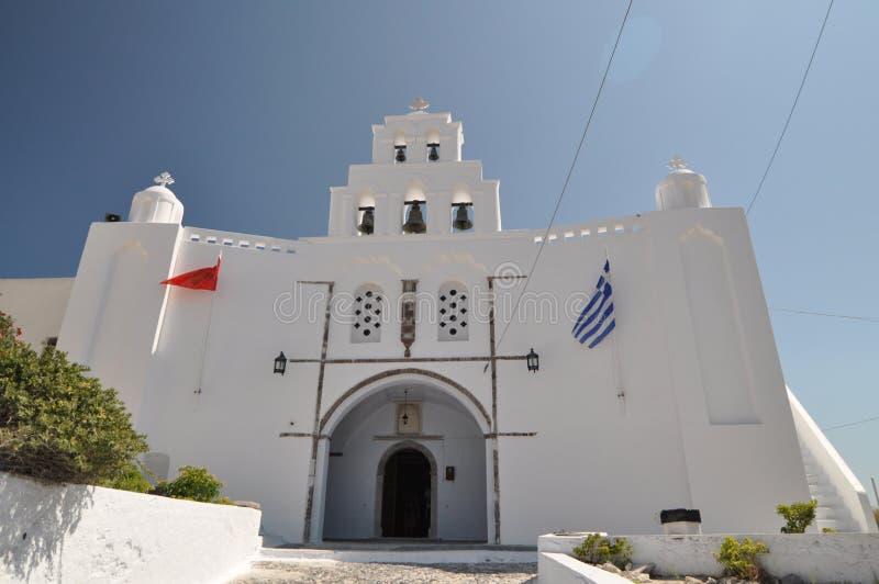 Orthodoxe Kirche in Santorini, Grece lizenzfreies stockbild