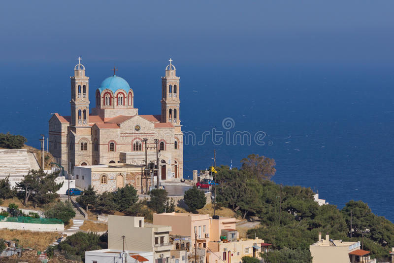 Orthodoxe Kirche und Panoramablick Anastaseos zu Ermopoli, Syros, Griechenland stockfoto