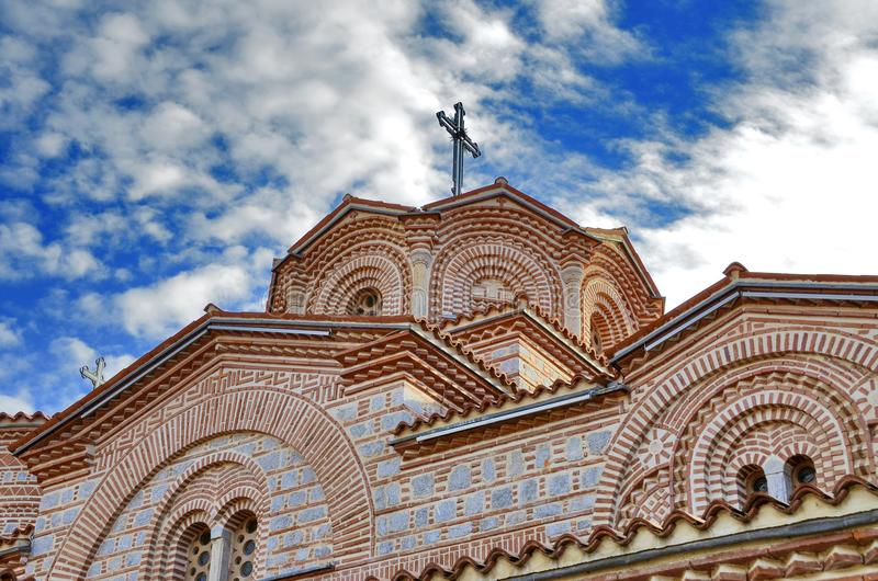 Orthodoxe Kirchen-St. Pantelejmon - Plaoshnik in Ohrid, Mazedonien stockbild