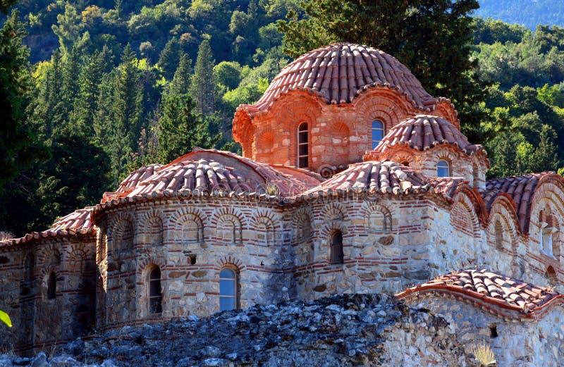 Orthodoxe Metropole Heilig-Dimitrios an archäologischer Fundstätte Mystras stockfoto