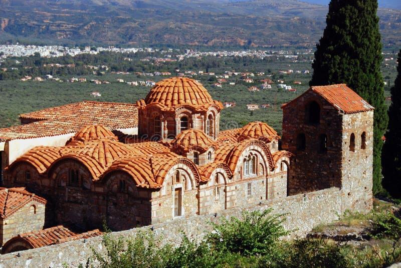 Orthodoxe Metropole Heilig-Dimitrios an archäologischer Fundstätte Mystras stockfotografie