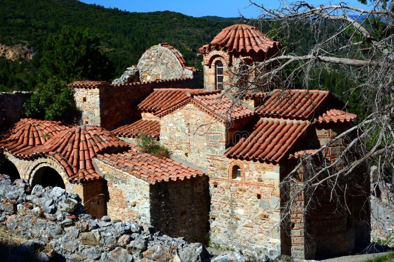 Orthodoxe Metropole Heilig-Dimitrios an archäologischer Fundstätte Mystras lizenzfreies stockfoto