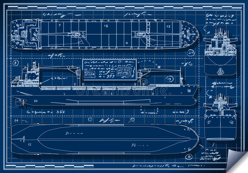 Orthogonal blue print of a cargo ship stock vector illustration download orthogonal blue print of a cargo ship stock vector illustration of carrier isolated malvernweather Images