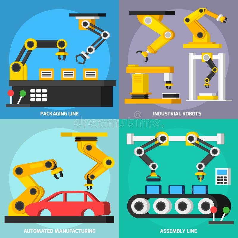 Orthogonal 2x2 Geplaatste Pictogrammen van de automatiseringstransportband vector illustratie