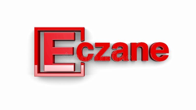 Orthographe turque de pharmacie ou de pharmacie Typographie turque illustration de vecteur