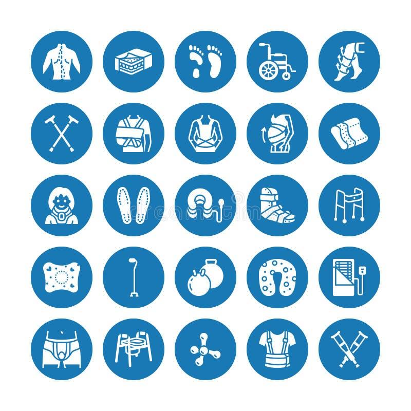 Orthopädie, Traumarehabilitation Glyphikonen Krücken, Matratzenkissen, zervikaler Kragen, Wanderer, medizinische Rehabilitationsw stock abbildung