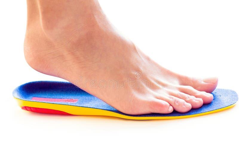 Orthopädische Einlegesohle und weibliches Bein stockfoto