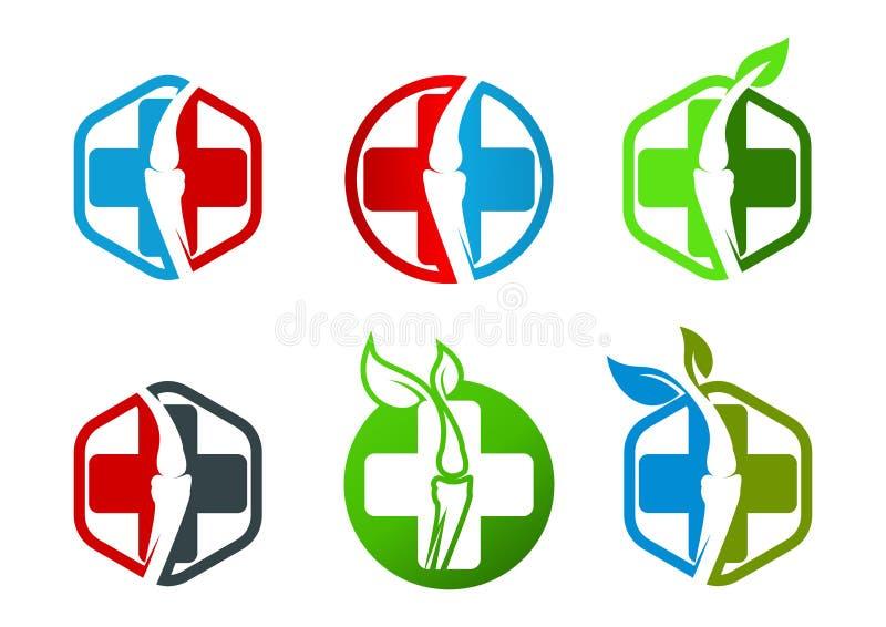 Orthopédie, hexagone, épine, feuille, spinal, os, chiropractie, naturel, symbole, logo et icône illustration libre de droits