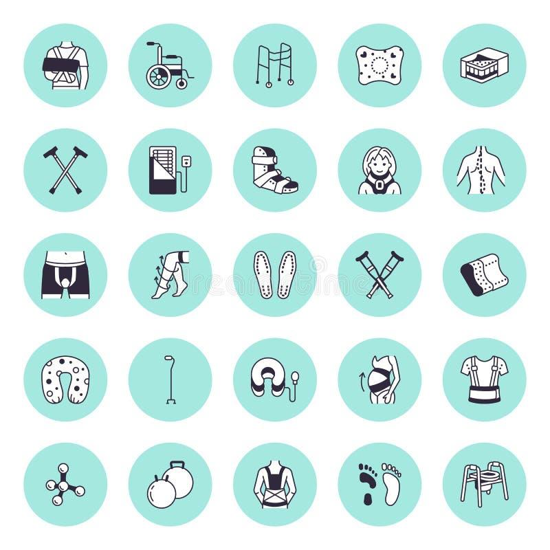 Orthopédique, ligne icônes de vecteur de réadaptation de traumatisme Béquilles, oreiller de matelas, collier cervical, marcheurs, illustration stock