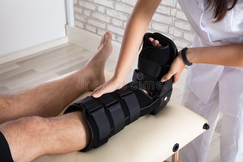 Orthopédiste mettant l'accolade de marche à la jambe patiente du ` s photo stock