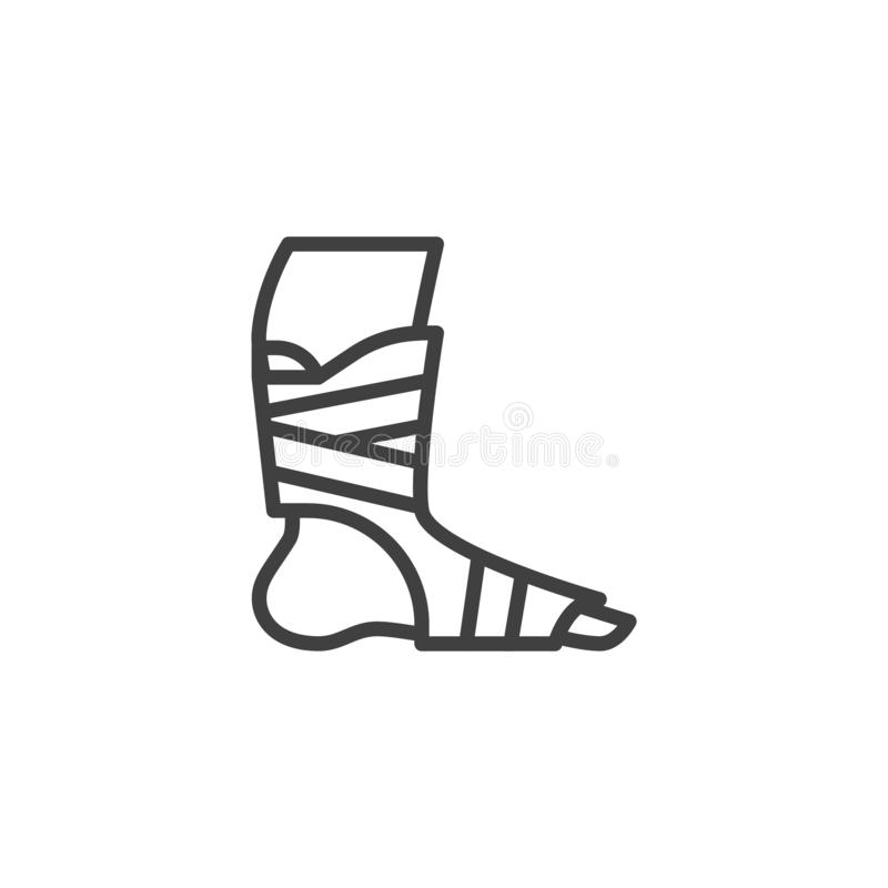 Orthopedic Ankle Bandage line icon. Linear style sign for mobile concept and web design. Foot ankle brace outline vector icon. Symbol, logo illustration vector illustration