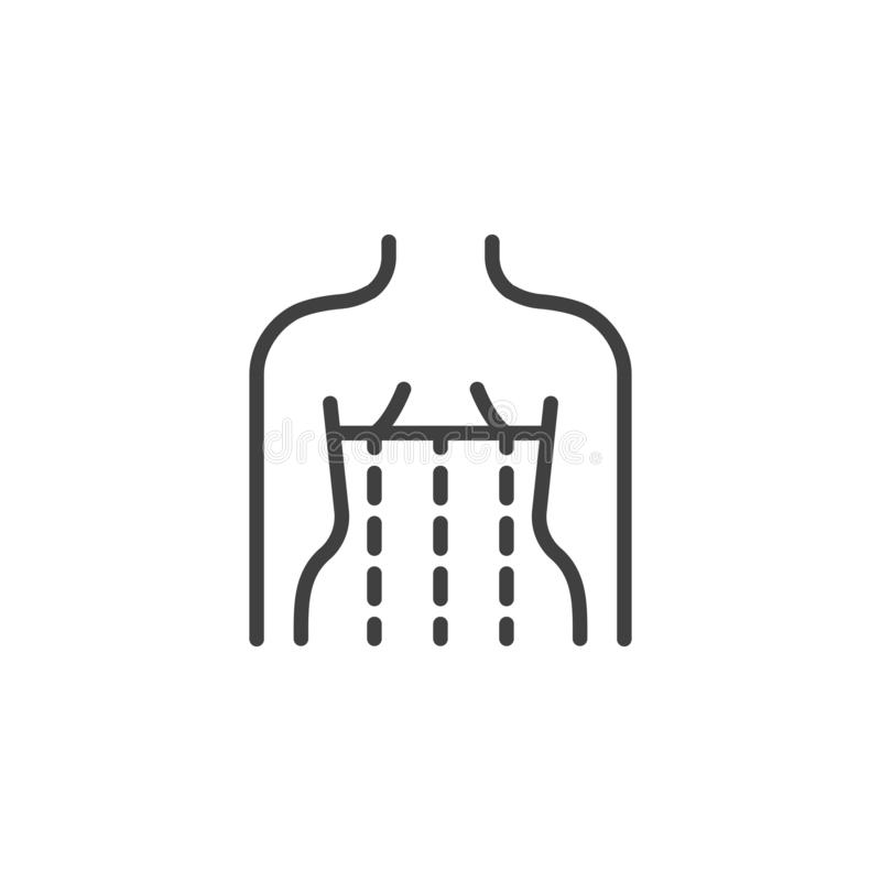 Orthopedic corset on the human body line icon. Linear style sign for mobile concept and web design. Posture corrector outline vector icon. Symbol, logo royalty free illustration