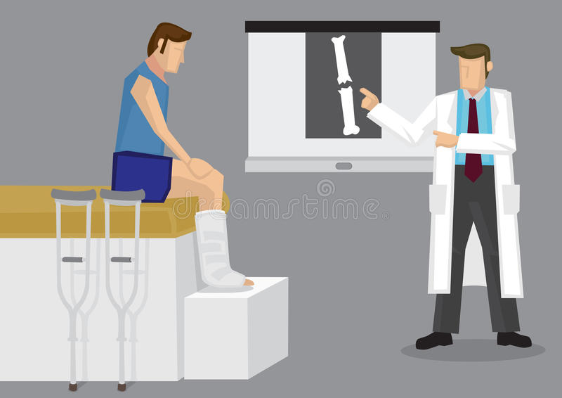 Orthopedic Doctor Showing Patient X-ray Film Vector Illustration. Orthopedic specialist explaining X-ray film with broken bone to patient with leg in plaster vector illustration