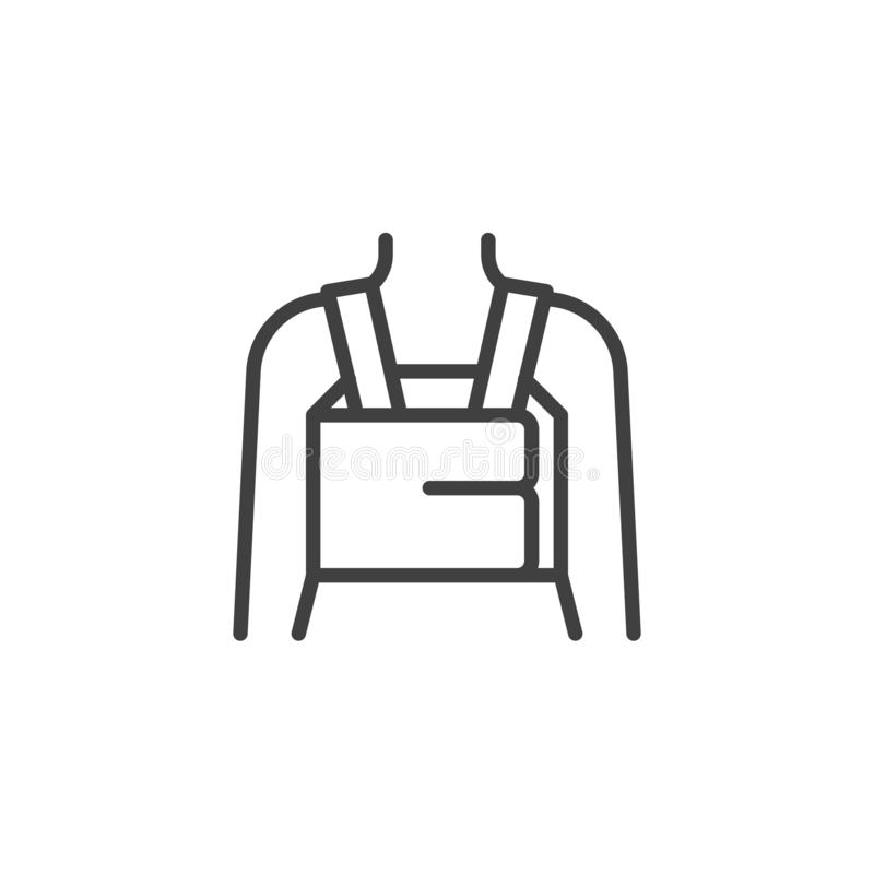 Orthopedic Lumbar Brace line icon. Linear style sign for mobile concept and web design. Posture Corrector outline vector icon. Symbol, logo illustration stock illustration