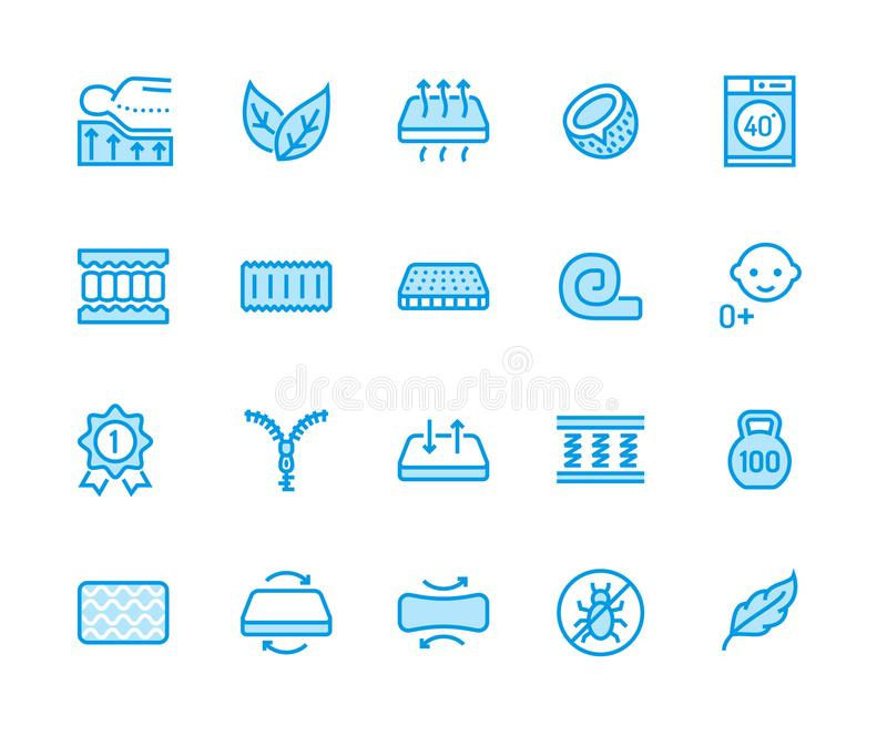 Orthopedic mattress flat line icons. Mattresses properties - anti dust mite, spine support, washable cover, breathable. Memory foam, bedding illustrations royalty free illustration