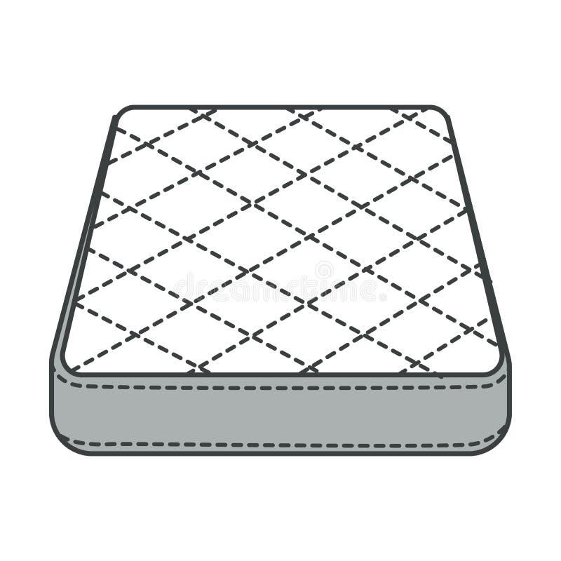 Mattress, orthopedic bedding, bedroom furniture isolated icon stock illustration