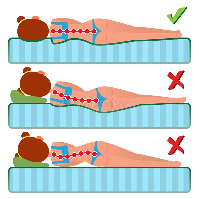 Orthopedic Mattress Vector. Sleeping Position. Bad And Good. Various Mattresses. Comfortable Bed. Pillow. Correct Spine. Orthopedic Mattress Vector. Sleeping royalty free illustration