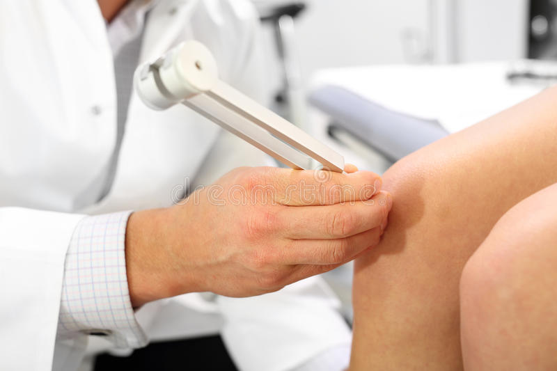 Orthopedic patient at the doctor stock image