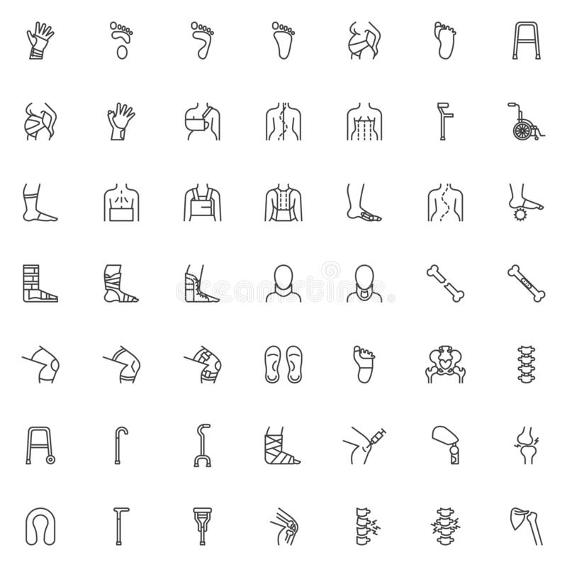 Orthopedic rehabilitation line icons set. Linear style symbols collection outline signs pack. vector graphics. Set includes icons as orthopedic surgery, wrist stock illustration